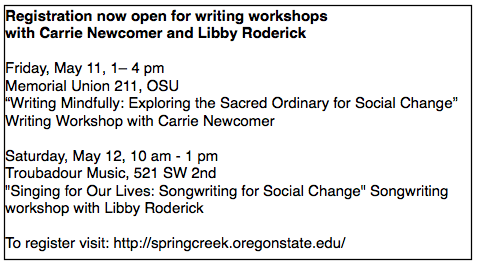 CarrieNewcomerLibbyRoderickWritingWorkshops May 11 Concert to Highlight Social and Environmental Change