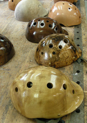 "helmets2 300 ""Treepieces"":  A Local Artisan Crafts Wooden Safety Helmets"