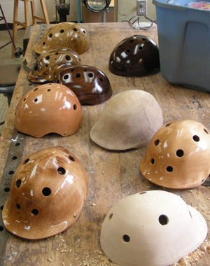"helmets 300 ""Treepieces"":  A Local Artisan Crafts Wooden Safety Helmets"