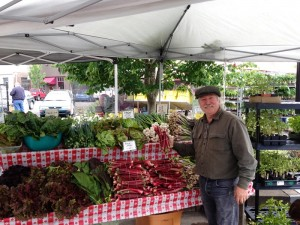 Carts and Tools Founder Michael McGowan at the local farmer's market community table.