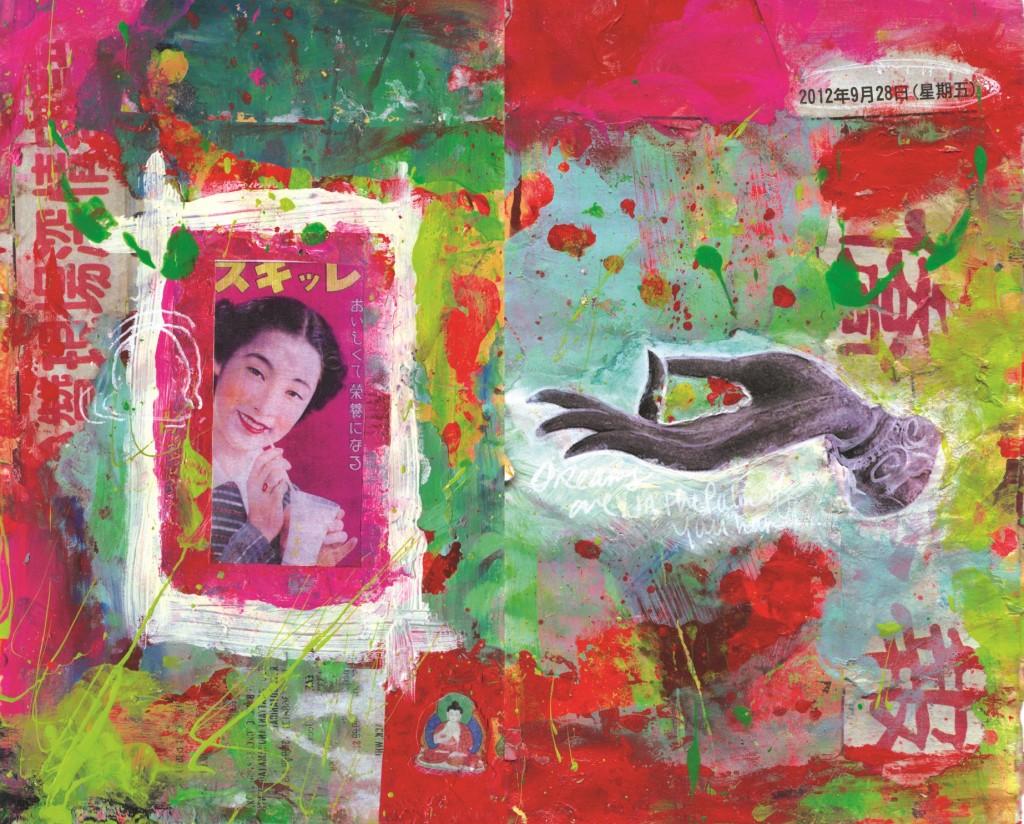 Pop Buddha Art, Mixed Media Journal Page by Rachel Urista