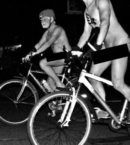 Oregonians both young and old enjoying Portland's naked bicycle ride