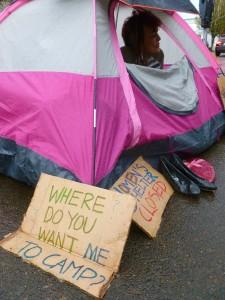 Homeless woman protests seasonal shelter closing