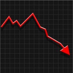 Grafico freccia rossa andamento negativo