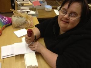 Melissa works at B & J Bookbinding.