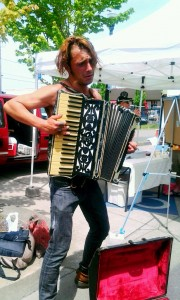 Syd jams on the accordion.
