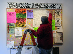 Burris and the Bulletin Board at the Lonely Mountain Arts Center