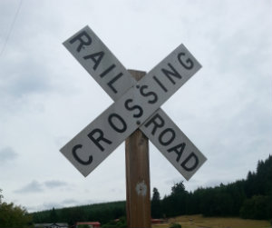 A pointless RR Crossing sign in the Bailey Branch Corridor